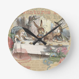 Alice in Wonderland Mad Tea Party Round Clock