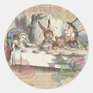 Alice in Wonderland Mad Tea Party Round Sticker