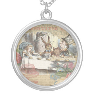 Alice in Wonderland Mad Tea Party Silver Plated Necklace