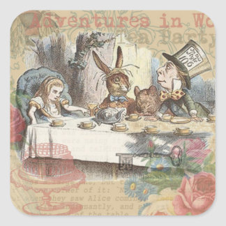Alice in Wonderland Mad Tea Party Square Sticker