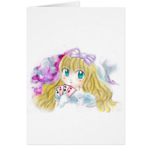 Alice In Wonderland Manga Anime Version Kawaii Greeting Cards