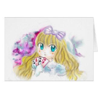 Alice In Wonderland Manga Anime Version Kawaii Greeting Card