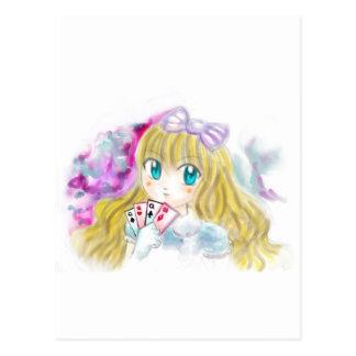 Alice In Wonderland Manga Anime Version Kawaii Postcard