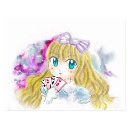 Alice In Wonderland Manga Anime Version Kawaii Post Card
