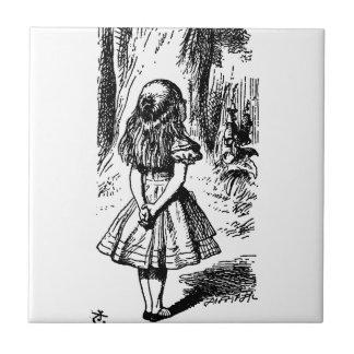 Alice in Wonderland - original illustration Small Square Tile