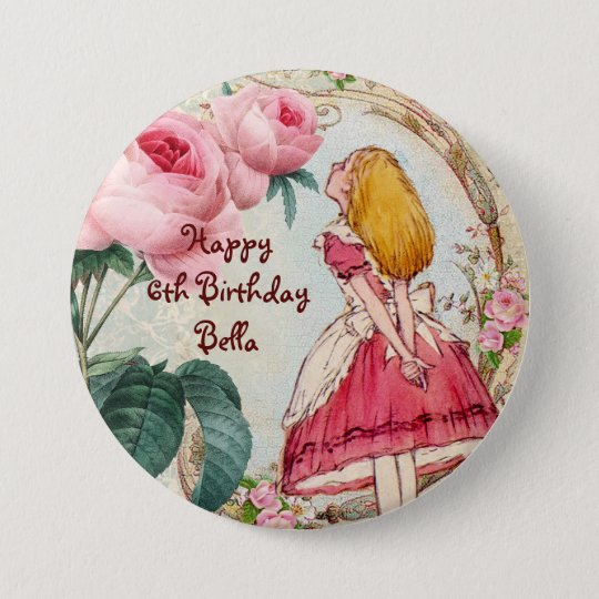 Alice in Wonderland Personalised Birthday 7.5 Cm Round
