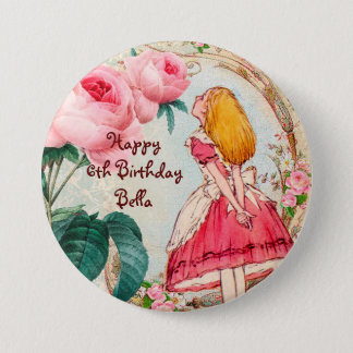 Alice in Wonderland Personalized Birthday 7.5 Cm Round Badge