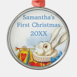 Alice in Wonderland Personalized First Christmas Silver-Colored Round Decoration
