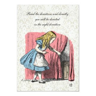 Alice in Wonderland Pink Flamingo Birthday Party Card