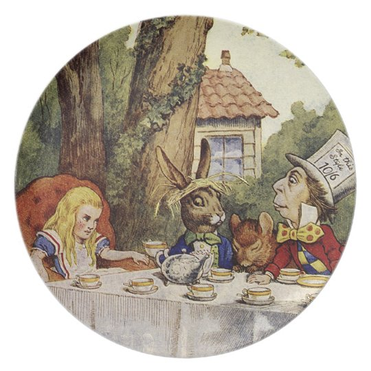 Alice in wonderland plate for a mad tea