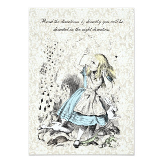 Alice in Wonderland Playing Cards Birthday Party 13 Cm X 18 Cm Invitation Card