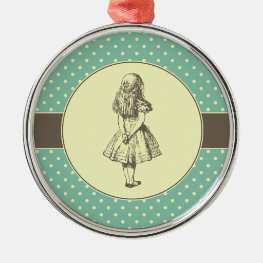 Alice in Wonderland Polka Dots Round Metal Christmas Ornament
