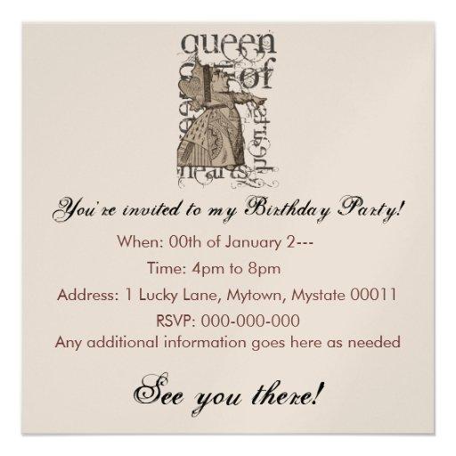Alice In Wonderland Queen of Heart Grunge (Single) Custom Invitation