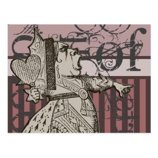 Alice In Wonderland Queen of Hearts Grunge (Pink) Postcard