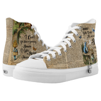 Alice in Wonderland Quote Vintage Dictionary Art Printed Shoes