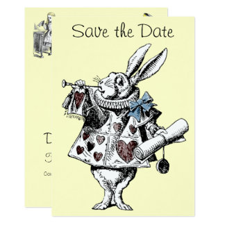 Alice in Wonderland Rabbit Save the Date Card