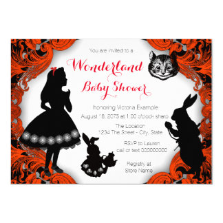 Alice in Wonderland Red Black Baby Shower Card