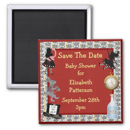 Alice in Wonderland Red Save The Date Baby