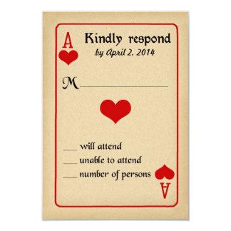 Alice in Wonderland Response Card - Wedding 9 Cm X 13 Cm Invitation Card