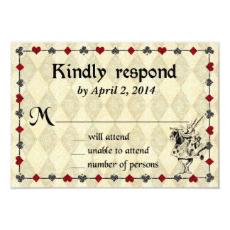 Alice in Wonderland Response Card - Wedding 9 Cm X 13 Cm Invitation Card
