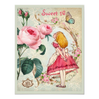 Alice in Wonderland Roses Collage Sweet 16 11 Cm X 14 Cm Invitation Card