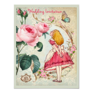 Alice in Wonderland Roses Collage Wedding Invites