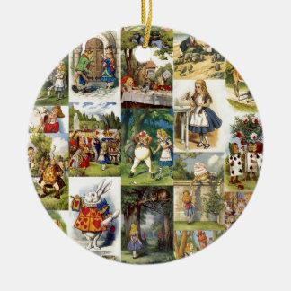alice in wonderland round ceramic decoration