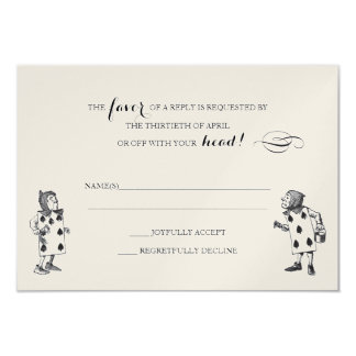 Alice in Wonderland RSVP Response Card 9 Cm X 13 Cm Invitation Card