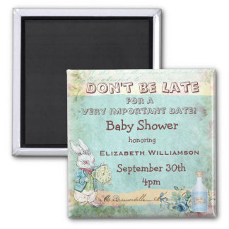Alice in Wonderland Save The Date Baby Shower Square Magnet
