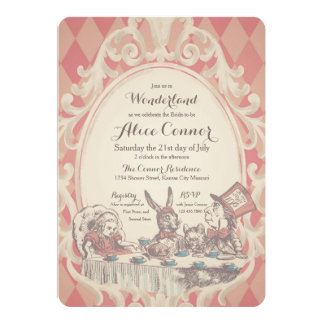 Alice in Wonderland Shower Invitations | Pink