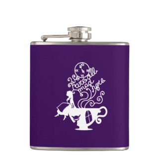 Alice in Wonderland. Silhouette illustration Hip Flask