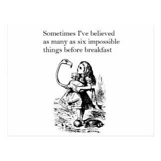 """Alice in Wonderland, """"Six Impossible Things"""" Postcard"""