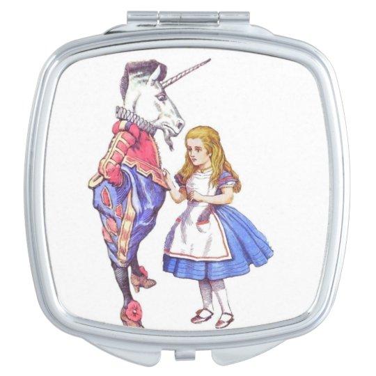 alice in wonderland square compact mirror