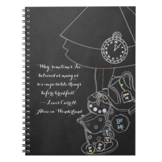 Alice in Wonderland Tea Party Chalkboard Party Spiral Note Book