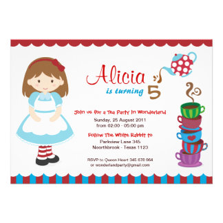 Alice in Wonderland Tea Party Custom Announcement