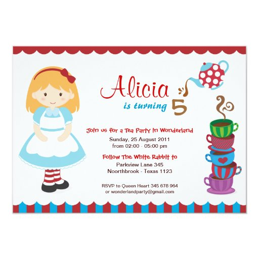 Alice in Wonderland Tea Party 5x7 Paper Invitation Card