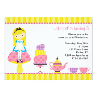 Alice in Wonderland Tea Party Invitations Personalized Announcement