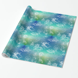 Alice in Wonderland Tea Time Blue Green Gift Wrap