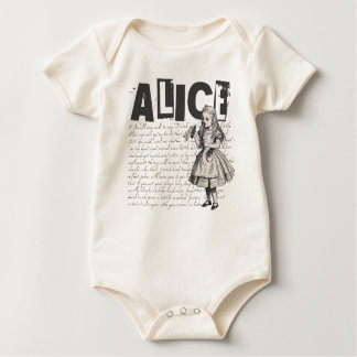 Alice In Wonderland Text & Alice Image Baby Bodysuit
