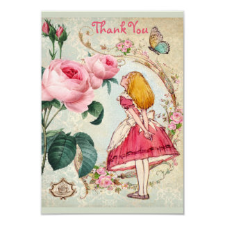 Alice in Wonderland Thank You Bridal Shower 9 Cm X 13 Cm Invitation Card