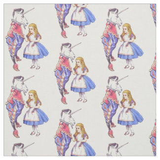 Alice in Wonderland & the unicorn fabric design