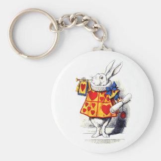 Alice in Wonderland The White Rabbit by Tenniel Basic Round Button Key Ring
