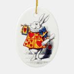 Alice in Wonderland The White Rabbit by Tenniel Ceramic Oval Decoration