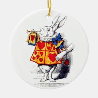 Alice in Wonderland The White Rabbit by Tenniel Round Ceramic Decoration