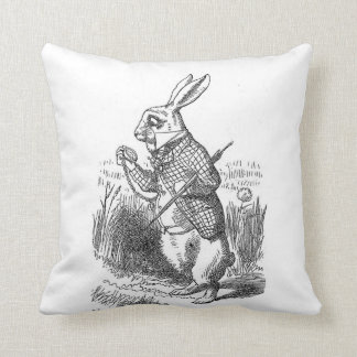 Alice in Wonderland the White Rabbit vintage Cushion