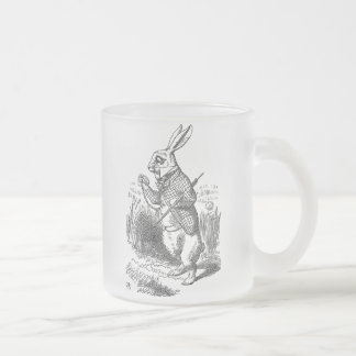 Alice in Wonderland the White Rabbit vintage Frosted Glass Coffee Mug