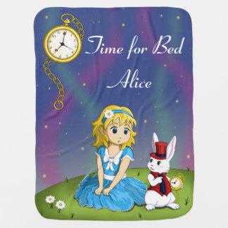 """Alice in Wonderland """"Time for Bed"""" Blanket Swaddle Blankets"""