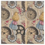 Alice In Wonderland Travelling in Time Fabric