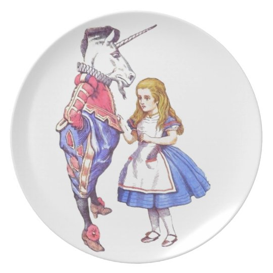 Alice in Wonderland & Unicorn melamine plate