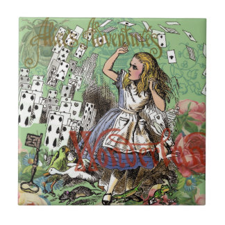 Alice in Wonderland Vintage Card party Small Square Tile